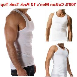 100% Cotton Men's White 12 Pack Tank Top A-Shirt Wife-Beater