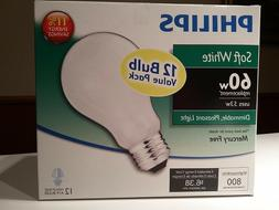 3 Boxes - Philips 60W Dimmable Replacement Light Bulbs  - A1