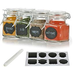 12 Pack - 3 Ounce Mini Clear Glass Spice Jar Container Set w