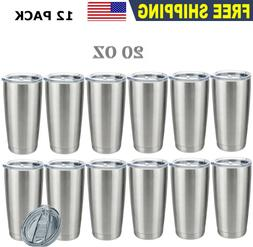 12 Pack 20OZ Stainless Steel Tumbler Slider Lid Double Wall