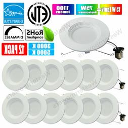 Westernpowers 12 Pack 6 Inch Retrofit Recessed LED Light 15W