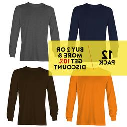 12 PACK AAA ALSTYLE CASUAL MENS LONG SLEEVE T SHIRT PLAIN SH