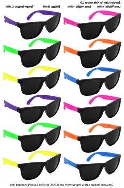 12 Pack Kids Size Neon Sunglasses with CPSIA certified-Lead