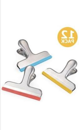 12 Pack Stainless Steel Chip Bag Clips With Silicone Edges