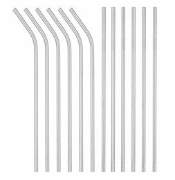 12 Pack Stainless Steel Metal Straws 3 Cleaning Brush Reusab
