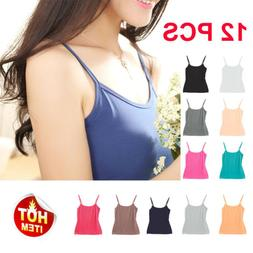 12 PACK WOMEN'S CAMIS TANK TOP STRETCH CAMISOLE SOLID COLORS