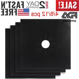 4/8/12Pack Square Gas Stove Burner Covers Reusable Nonstick