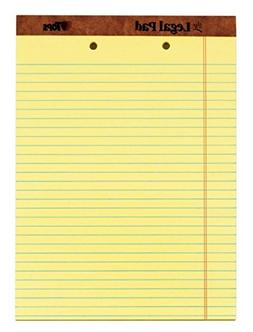 2-Hole Punched Perforated Pads, Lgl Rule, Ltr, Canary, 50 Sh