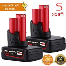 2 PACK 12V For Milwaukee 48-11-2440 M12 XC 4.0Ah Lithium Ion