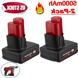 2 PACK 12V For Milwaukee 48-11-2460 M12 XC 5.0Ah Lithium Ion