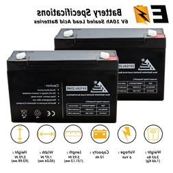 2 Pack - 6v 10ah 6 volt 10 AMP SLA AGM Battery Replaces Yuas