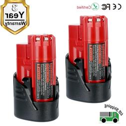 2 Pack New 12V 3.0Ah Lithium-ion Battery for Milwaukee M12 4