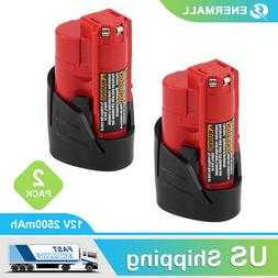 2-Pack New 2.5Ah M12 for Milwaukee 12V XC Lithium Battery 48