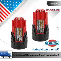 2 Packs 2500mAh Lithium-Ion Replace for Milwaukee M12 12V Ba