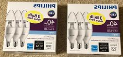 2 x 3-pack Philips 40W Equivalent DAYLIGHT B11 Candelabra Ba