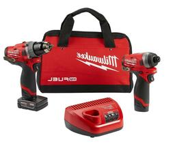 Milwaukee 2598-22 M12 FUEL 2-Tool Hammer Drill and Hex Impac