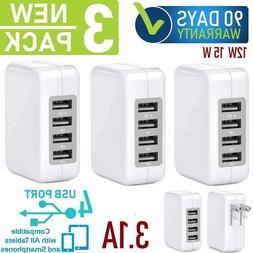 3-Pack 12W 15W 4-USB Cube Wall Charger For Apple iPhone,iPad