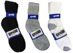 4 or 12 Pairs Mens Socks Sport Crew Cotton Solid Color 1 Doz