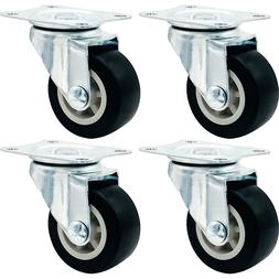 """4 Pack 1.5"""" Low Profile Casters Wheels Soft Rubber Swivel Ca"""