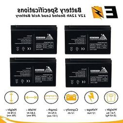 4 Pack: 12V 12AH Compatible Battery for 6-DZM-12 APC Scooter