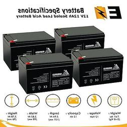 4 Pack - 12V 12Ah Ebike Electric Scooter Battery E-Bike Bore