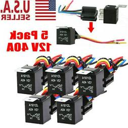 5 Pack 12V 30/40 Amp 5-Pin SPDT Automotive Relay with Wires