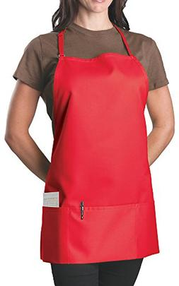 6 Pack - Red Adjustable Bib Apron - 3 Pocket