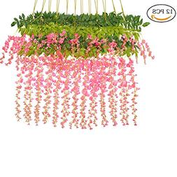 Maefant 12 Pack 3.6 Feet/Piece Artificial Fake Wisteria Vine
