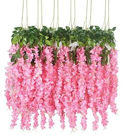 XIUER 12 PACK Artificial Wisteria Hanging Garland Flowers Ar