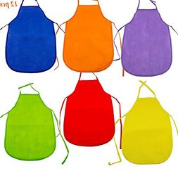 Adorox 12 Pack Assorted Children's Multicolored Aprons smock