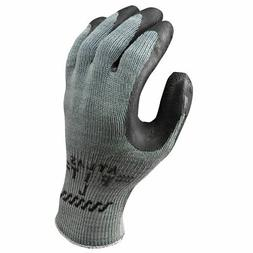 SHOWA Atlas 300B Fit Palm Coating Natural Rubber Glove, Blac