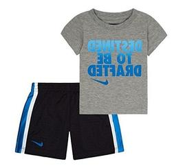 NIKE Baby Boys Tee & Shorts Set, 12 Months, Anthracite