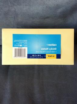 "CVS CALIBER BRAND 12 PACK  3"" x 3"" STICKY NOTES YELLOW - NEW"