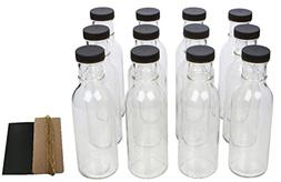 Clear Wide Mouth Glass Bottles for Beverage, Sauce and Decor