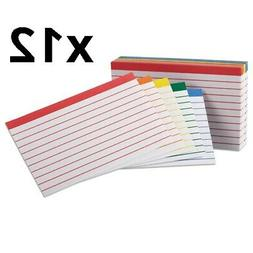 Color Coded Ruled Index Cards, 3 x 5, Assorted Colors, 100/P