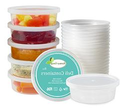12 Pack Deli Food Storage Containers with Lids 8 oz. Leakpro