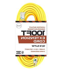Outdoor Extension Cord - 12/3 SJTW Heavy Duty Yellow 3 Prong