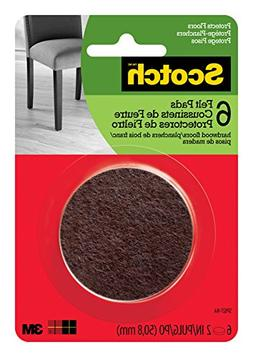"Scotch Felt Pads, 6 Pads/Pack, Round, Brown, 2"","