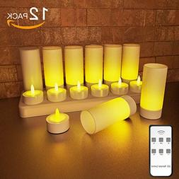 EXPOWER 12 Pack Flameless Candles Rechargeable Remote Contro