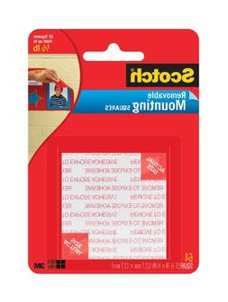Scotch Foam Mounting Removable Squares, 1/2 x 1/2 Inch, 64 S