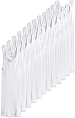 Hanes Men's 12-Pack FreshIQ ComfortSoft Tanks, White, Large