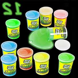 4E's Novelty Glow in The Dark Slime Assortment, Pack of 12,
