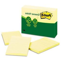 Post-it Greener Notes, 4 x 6-Inches, Canary Yellow, Lined, 1