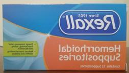 Rexall Hemorrhoidal Suppositories 12 Pack Like Preparation H