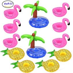 Uniqhia 12 Pack Inflatable Drink Holders - 6 PCS Pink Flamin