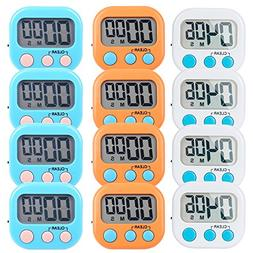 12 Pack Small Digital Kitchen Timer Magnetic Back And ON/OFF