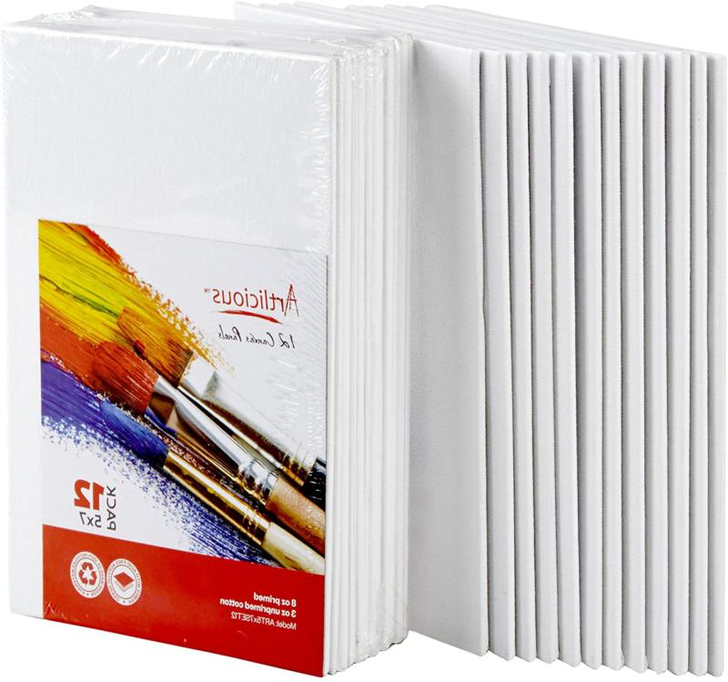 Artlicious Canvas Panels 12 Pack - 5 inch x 7 inch Super Val