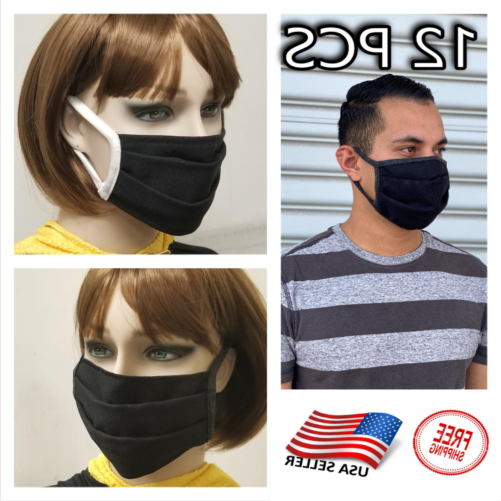 12 pack face mask black washable reusable