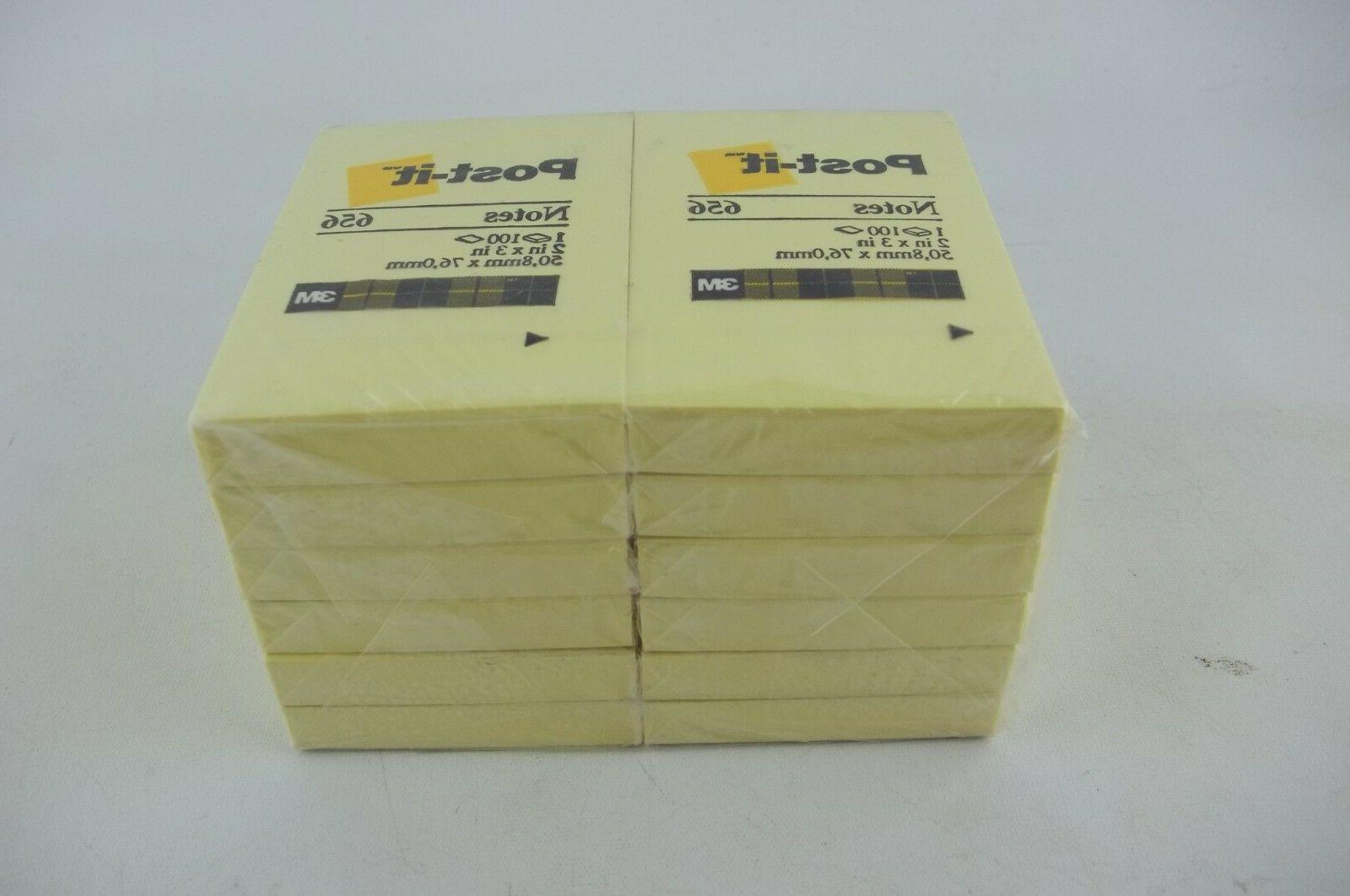 "12-Pack Scotch Post-it Notes 2"" x 3"" Yellow 656, 100 Sheets"