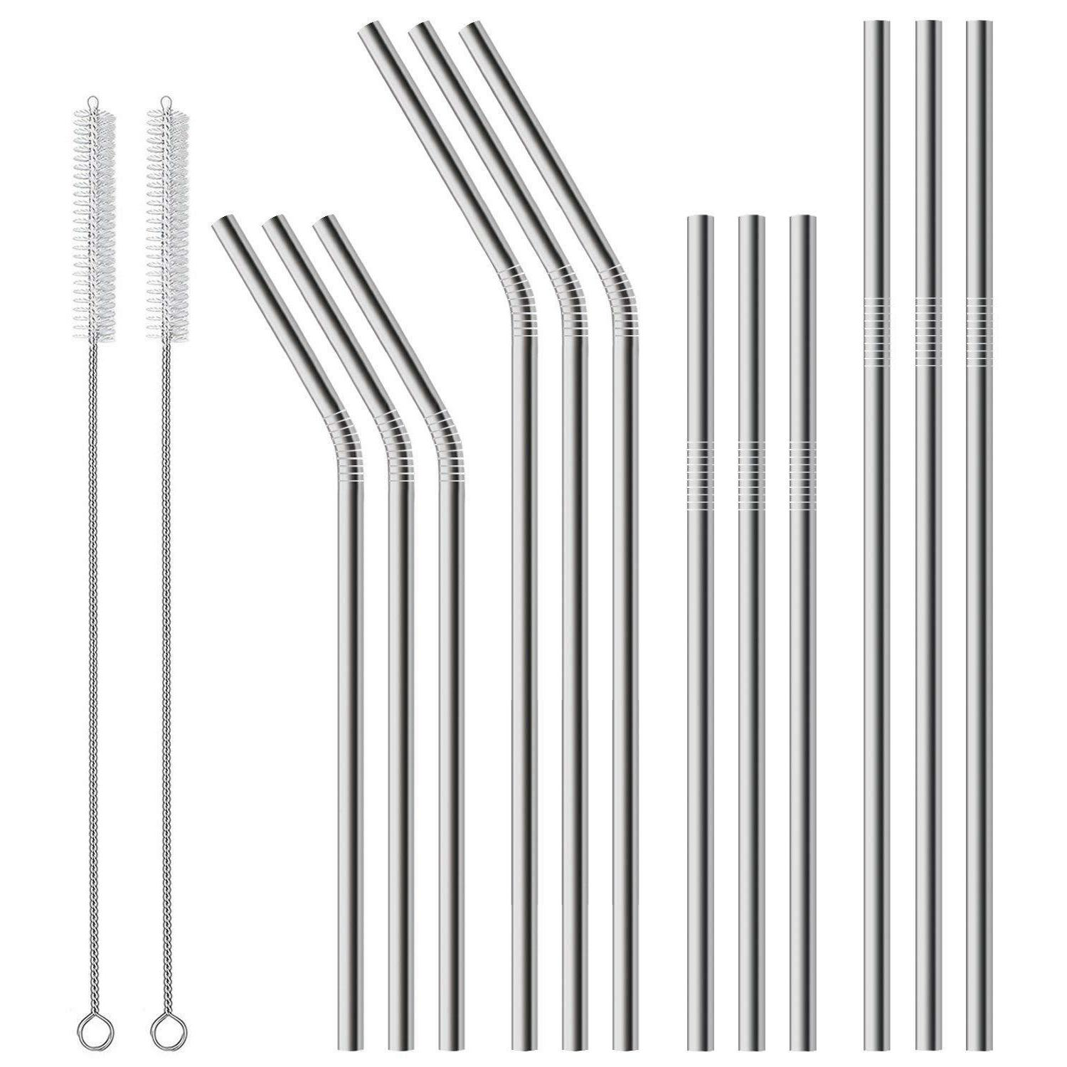 12 Pack Stainless Steel Metal Straws 2 Cleaning Brush Reusab
